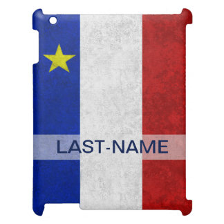 Acadian Flag Surname Distressed Grunge Personalize iPad Covers