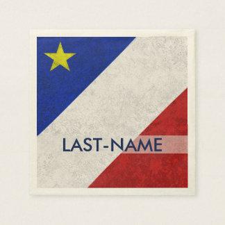 Acadian Flag Surname Distressed Grunge Personalize Paper Napkin