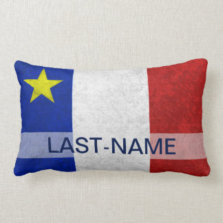 Acadian Flag Surname Distressed Grunge Personalize Pillows
