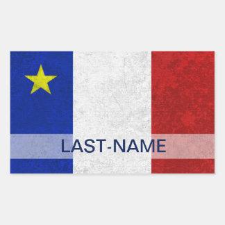 Acadian Flag Surname Distressed Grunge Personalize Rectangular Sticker