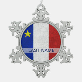 Acadian Flag Surname Distressed Grunge Personalize Snowflake Pewter Christmas Ornament