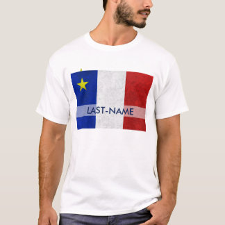 Acadian Flag Surname Distressed Grunge Personalize T-Shirt