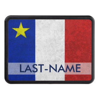 Acadian Flag Surname Distressed Grunge Personalize Trailer Hitch Cover