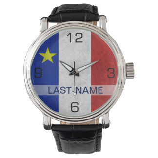 Acadian Flag Surname Distressed Grunge Personalize Wristwatch