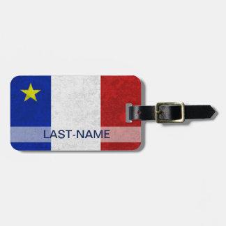Acadian Flag Surname Personalize Address Bag Tag