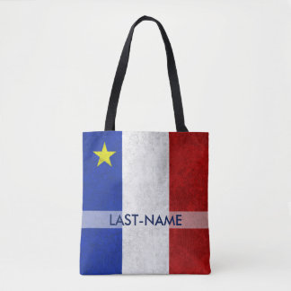 Acadian Flag Surname Personalize Tote Bag