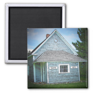 Acadian Schoolhouse 2 Inch Square Magnet
