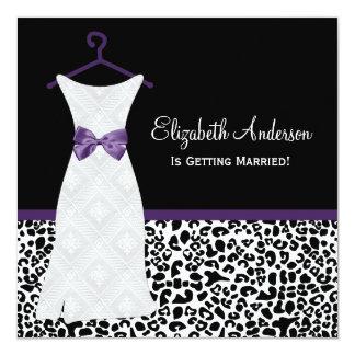 Acai Purple Gown Leopard PrintBridal Shower Invitations