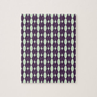 Acai Violet & Grass Green Fabric Pattern. Elegant Jigsaw Puzzles