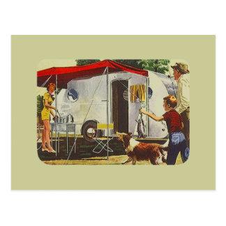 Acampada retra del remolque del viaje del vintage tarjetas postales