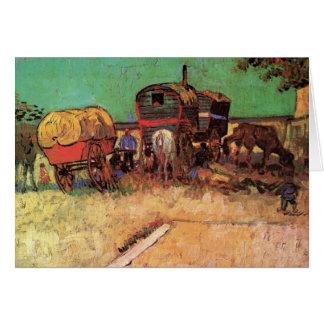 Acampamento de gitanos con las caravanas de Van Go Tarjeta Pequeña