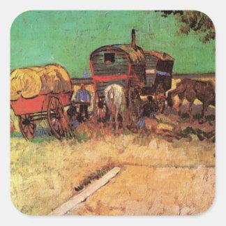 Acampamento de las caravanas de los gitanos w; pegatina cuadrada