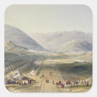 Acampamento del ejército de Kandahar debajo de Pegatina Cuadrada