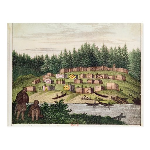 Acampamento indio en la isla de Quadra Postal
