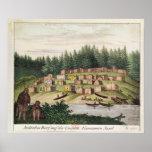 Acampamento indio en la isla de Quadra Poster