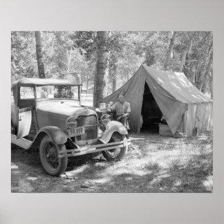 Acampando en el Yakima Valley, 1936. Foto del Póster