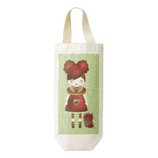 Acane and her apples zazzle HEART wine bag