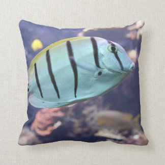 Acanthurus triostegus throw pillow