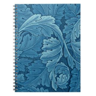 Acanthus de William Morris en azul Libreta Espiral