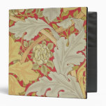 Acanthus leaves and wild rose on a crimson backgro 3 ring binder