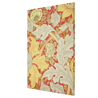 Acanthus leaves and wild rose on a crimson backgro canvas prints