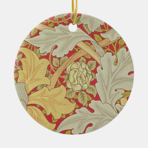 Acanthus leaves and wild rose on a crimson backgro ceramic ornament