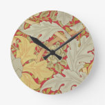 Acanthus leaves and wild rose on a crimson backgro round clock