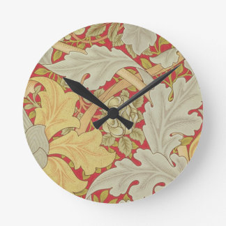Acanthus leaves and wild rose on a crimson backgro round wallclocks