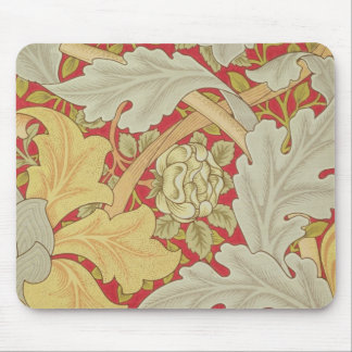 Acanthus leaves and wild rose on a crimson backgro mouse pad