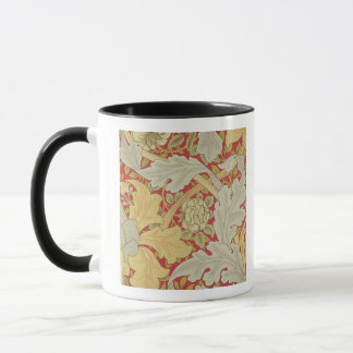 Acanthus leaves and wild rose on a crimson backgro mug