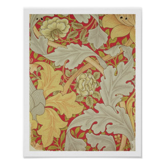 Acanthus leaves and wild rose on a crimson backgro poster