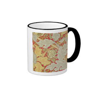 Acanthus leaves and wild rose on a crimson backgro ringer mug