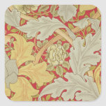 Acanthus leaves and wild rose on a crimson backgro square sticker