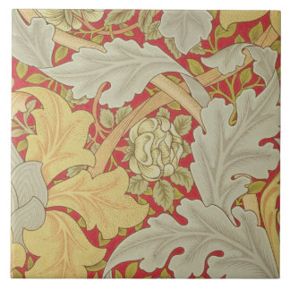 Acanthus leaves and wild rose on a crimson backgro tile
