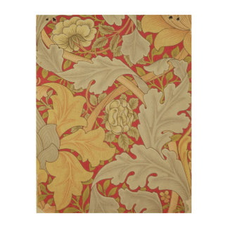 Acanthus leaves and wild rose on a crimson backgro wood canvas