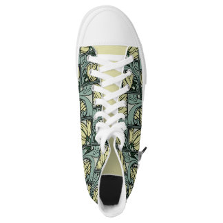 Acanthus Leaves Design, Artichoke, Yellow, Gray! Printed Shoes
