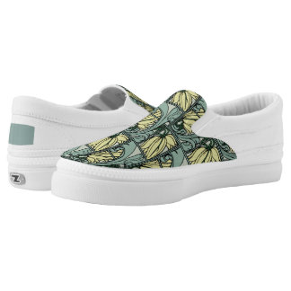 Acanthus Leaves Design, Artichoke, Yellow, Gray! Slip-On Sneakers