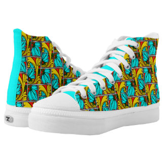 Acanthus Leaves Design, Red, Teal and Goldenrod! Printed Shoes