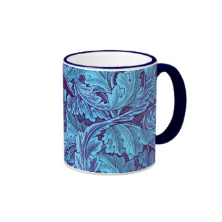 """Acanthus True Blue"" Ringer Coffee Mug"