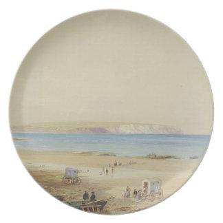 Acantilado de Culver, isla del Wight (w/c, pluma y Plato Para Fiesta