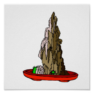 Acantilado de Saikei en gráfico rojo de los bonsai Póster
