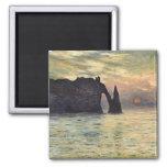 Acantilado, Etretat, puesta del sol por arte del Imanes Para Frigoríficos