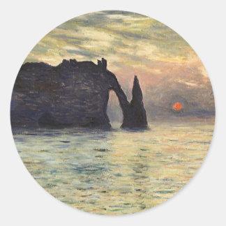 Acantilado, Etretat, puesta del sol por arte del Pegatina Redonda