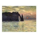 Acantilado, Etretat, puesta del sol por arte del Postal