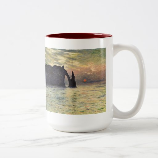 Acantilado, Etretat, puesta del sol por arte del Taza Dos Tonos