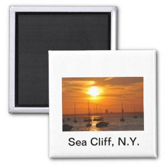 Acantilado NY del mar Imán Cuadrado