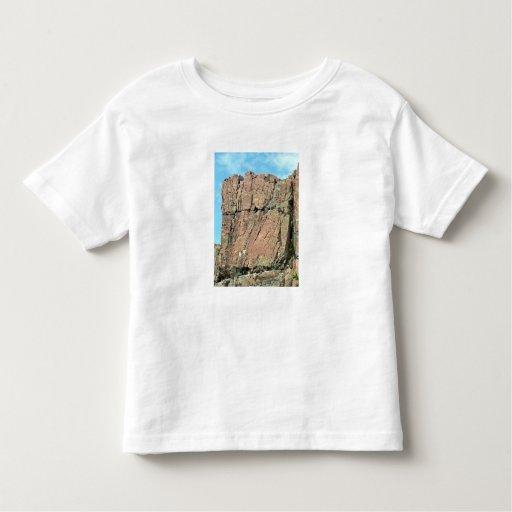Acantilado rojo de la roca contra el cielo azul camiseta