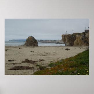 Acantilados a lo largo de la línea de la playa de  póster