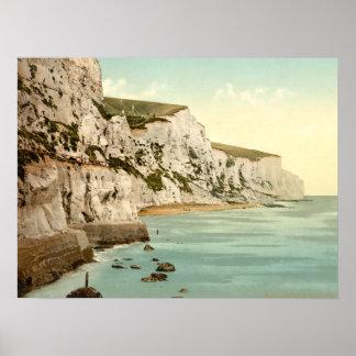 Acantilados blancos de Dover, Kent, Inglaterra Póster