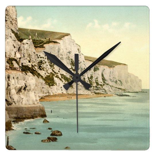 Acantilados blancos de Dover, Kent, Inglaterra Reloj Cuadrado
